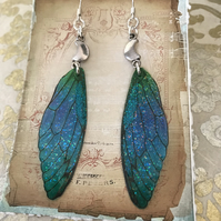 Blue and Green Crescent Moon Fairy Wing Earrings Sterling Silver