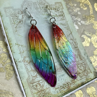 Sparkling Rainbow Fairy Wing Earrings Sterling Silver