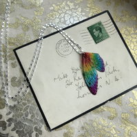 Rainbow Fairy Wing Sterling Silver Necklace