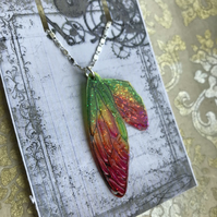Pink and Green Glittery Fairy Wing Sterling Silver Necklace