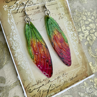 Pink and Green Fairy Wing Earrings Sterling Silver