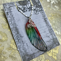 Red and green sparkling sterling silver triskelion fairy wing necklace