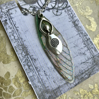 Goddess Green Fairy Wing Necklace