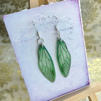 Green Fairy Wing Sterling Silver Earrings