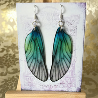 Blue and Green Shimmering Fairy Wing Sterling Silver Earrings