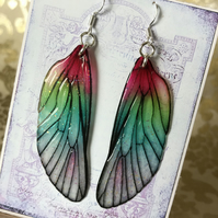 Pink and Green Shimmering Fairy Wing Sterling Silver Earrings