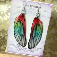 Red and Green Shimmering Fairy Wing Sterling Silver Earrings
