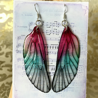 Dark Pink Shimmering Fairy Wing Sterling Silver Earrings