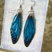 Magical Blue Fairy Wing Sterling Silver Earrings