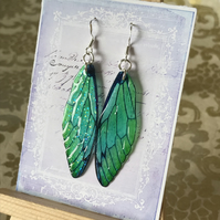 Emerald Green Fairy Wing Sterling Silver Earrings