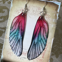 Large Pink Shimmering Fairy Wing Sterling Silver Earrings