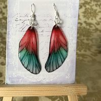 Red Fairy Wing Sterling Silver Earrings
