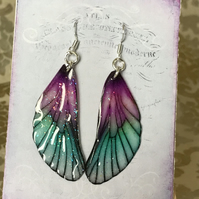 Purple and Green Fairy Wing Sterling Silver Earrings