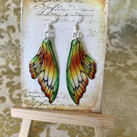 Orange and Green Double Fairy Wing Earrings Sterling Silver