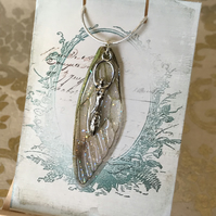 Earth Goddess Fairy Wing Sterling Silver Necklace