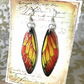 Autumnal Orange and Yellow Fairy Wing Sterling Silver Earrings