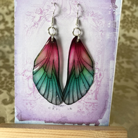 Pink and Green Fairy Wing Sterling Silver Earrings