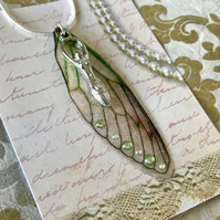Peridot Green Goddess Fairy Wing Sterling Silver Necklace