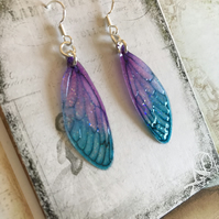 RESERVED FOR CYNTHIA Blue and Purple Fairy Wing Earrings Sterling Silver