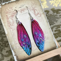 Colourful Aurora Borealis Rhinestone Sterling Silver Fairy Wing Earrings