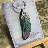 Purple and Green Triskelion Sterling Silver Fairy Wing Necklace