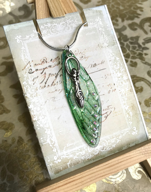 Green Aurora Borealis Goddess Fairy Wing Sterling Silver Necklace