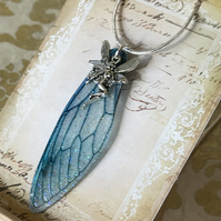 Blue Fairy Wing Sterling Silver Necklace