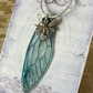 Magical Blue Fairy Wing Sterling Silver Necklace