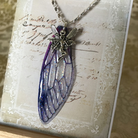 Purple Fairy Wing Sterling Silver Necklace