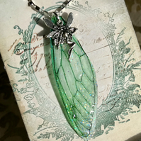 Forest Green Fairy Wing Sterling Silver Necklace