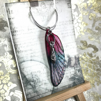 Pink Goddess Sterling Silver Aurora Borealis Fairy Wing Necklace