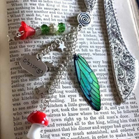 Green Fairy Wing Beaded Toadstool Ornate Bookmark