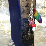Rainbow Fairy Wing Beaded Toadstool Ornate Bookmark and Velvet Pouch
