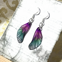 Glittery Purple and Green Sterling Silver Fairy Wing Earrings