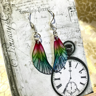Pink and Green Sterling Silver Fairy Wing Earrings