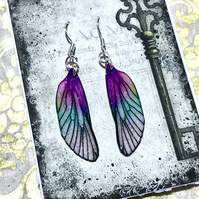 Purple and Green Sterling Silver Fairy Wing Earrings