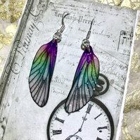 Green and Purple Sterling Silver Fairy Wing Earrings