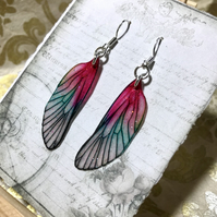 Dark Pink Green Sterling Silver Fairy Wing Earrings