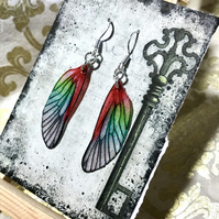 Red and Green Sterling Silver Fairy Wing Earrings
