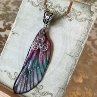 Pink and Green Triskelion Fairy Wing Necklace