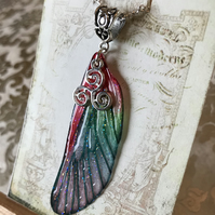 Red Triskelion Fairy Wing Necklace