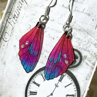 Dainty Colourful Aurora Borealis  Rhinestone Fairy Wing Sterling Silver Earrings
