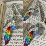Rainbow Goddess Blessings Fairy Wing Beaded Ornate Bookmark