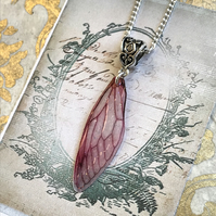 Dark Pink Fairy Wing Necklace
