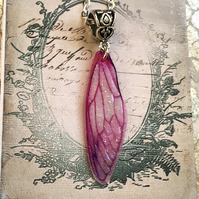 Bright Pink Fairy Wing Necklace