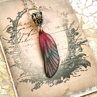 Pink and Green Fairy Wing Necklace