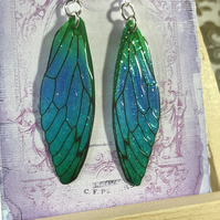 Magical Blue and Green Fairy Wing Sterling Silver Earrings
