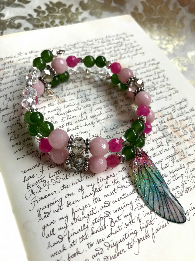 Pink and Green Fairy Wing Bracelet