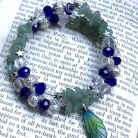 Blue and Green Aventurine Crystal Fairy Wing Beaded Bracelet