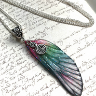 Pink and Green Spiral Fairy Wing Necklace